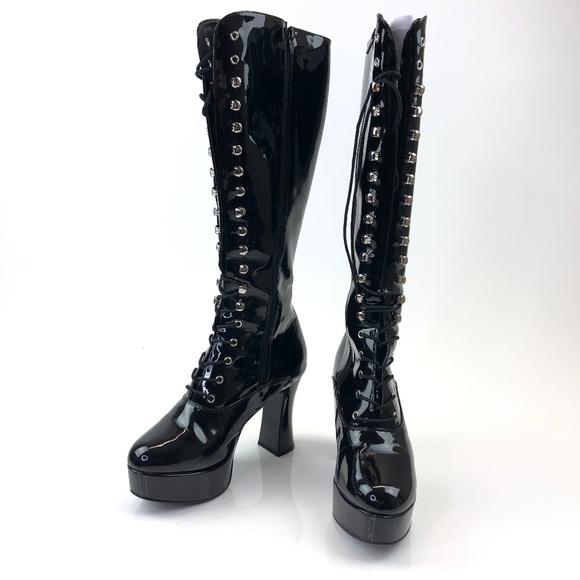 Funtasma Shoes - Womens Knee High Boots Medium 8 Gloss Black Exotic